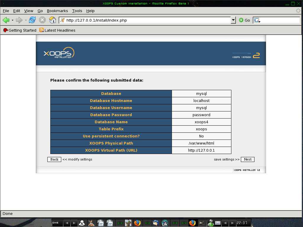 XOOPS Information Confirmation Screen