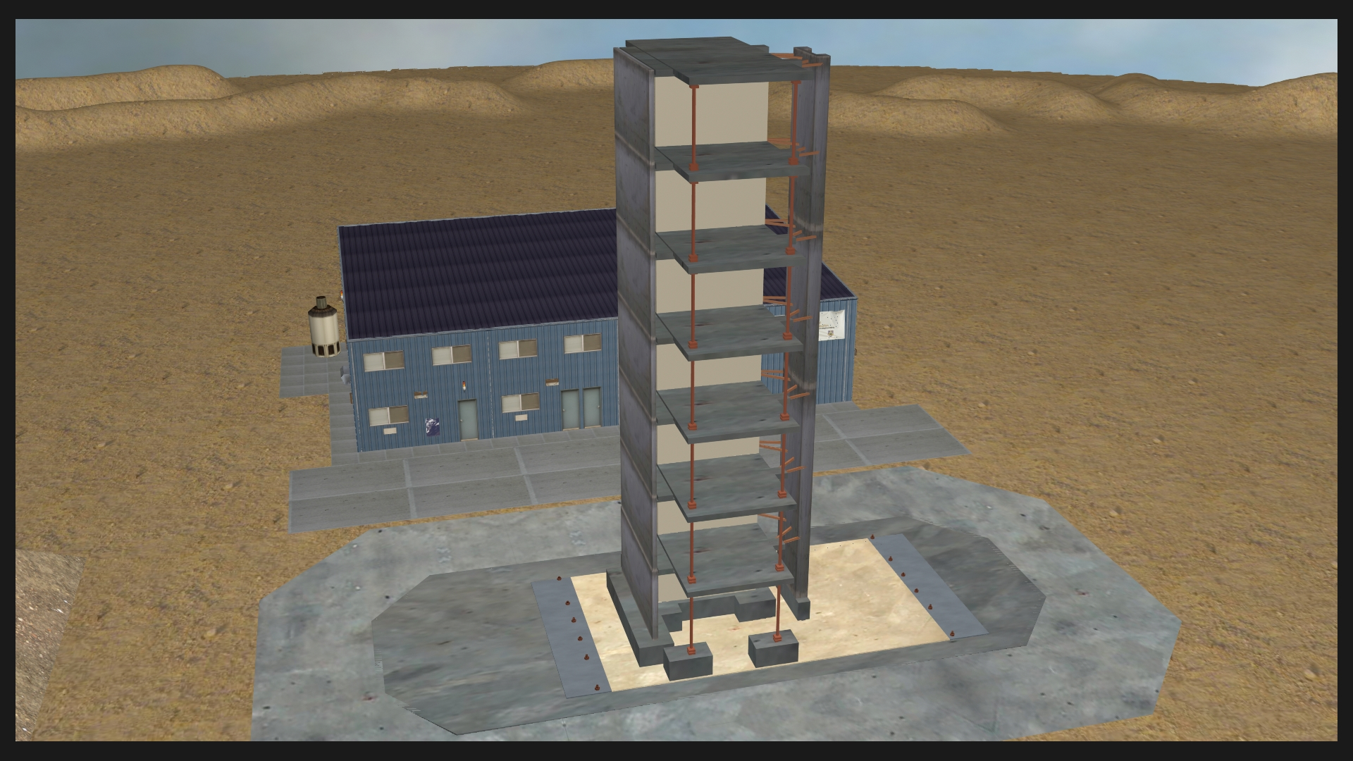 Digital re creation of a seven story building shake during 3d model sites