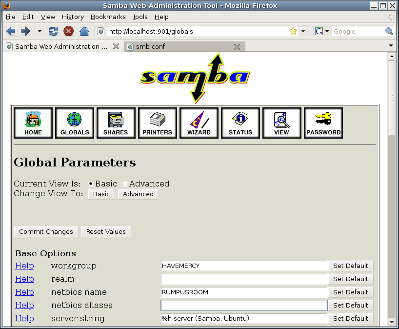 Имя Samba Сервера