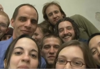 Wesch and his class in a YouTube video, from a class he teaches on ethnography.