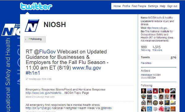 NIOSH Twitter page screen shot