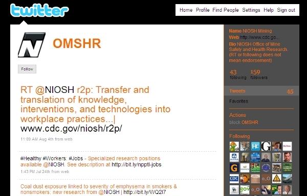 NIOSH Twitter page screen shot