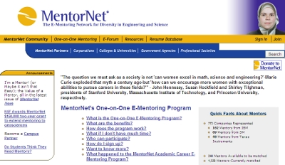 MentorNet screenshot