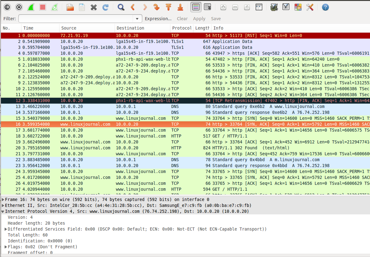 Monitoring Android Traffic with Wireshark