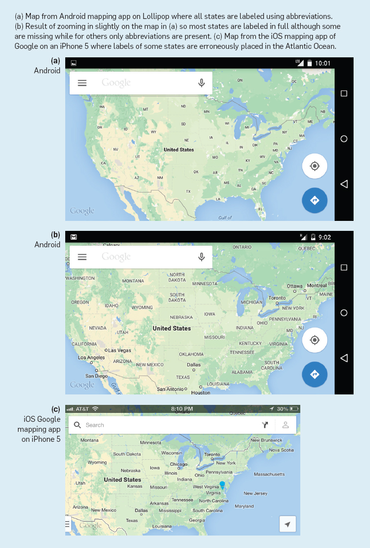 Static presentation consistency issues in smartphone mapping apps us maps using googles mapping apps showing the absence of sibling consistency gumiabroncs Choice Image